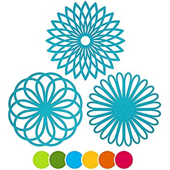 ME.FAN 3 Set Silicone Multi-Use Flower Trivet Mat - Premium Quality Insulated Flexible Durable Non Slip Coasters Hot Pads Blue