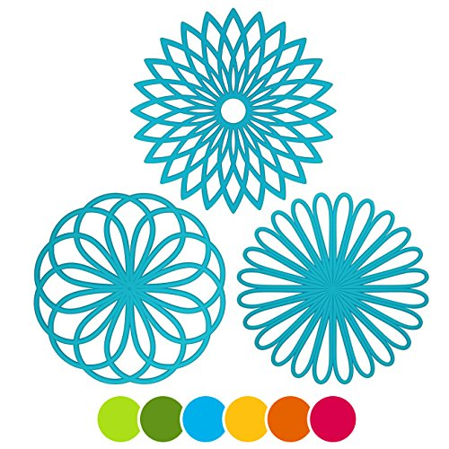 Large Product Image of ME.FAN 3 Set Silicone Multi-Use Flower Trivet Mat - Premium Quality Insulated Flexible Durable Non Slip Coasters Hot Pads Blue
