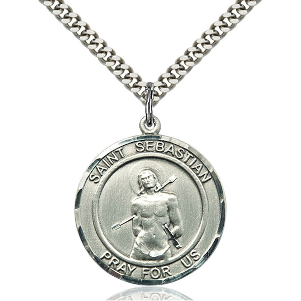Sterling Silver St. Sebastian Pendant 1 x 7/8 inches with Heavy Curb Chain