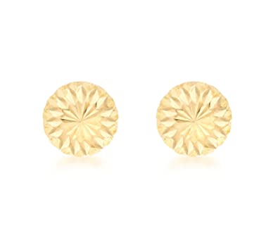 Carissima Gold Women's 9 ct Rose Gold 10 mm Diamond Cut Filigree Dome Stud Earrings 5yQRwRz