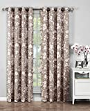 Cheap Window Elements Florabotanica Printed Cotton Extra Wide 104 x 96 in. Grommet Curtain Panel Pair, Mocha
