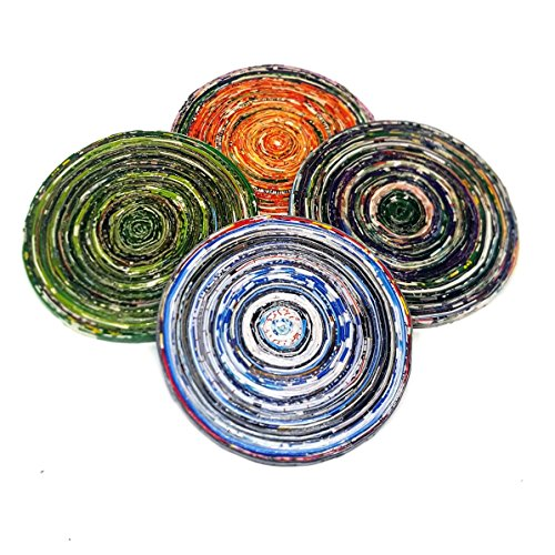 African Handmade Recycled Paper Coasters, Set of Four, MultiColor, Fair Trade