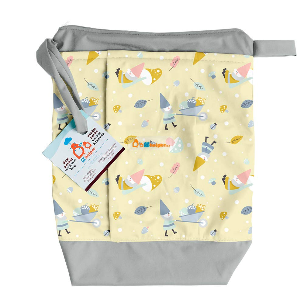 Lil Helper Dry/Wet Bag for Diapers - Waterproof & Secure (Gnomes) by Li'l Helper