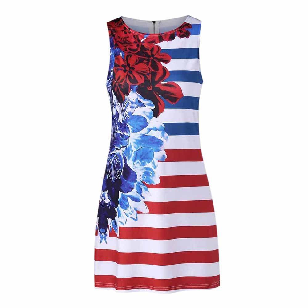 Women American Flag Vest Dress Printed Stripe Stitching O-Neck Sleeveless Maxi Mini Dress (S, Multicolor) by S&S-women (Image #1)