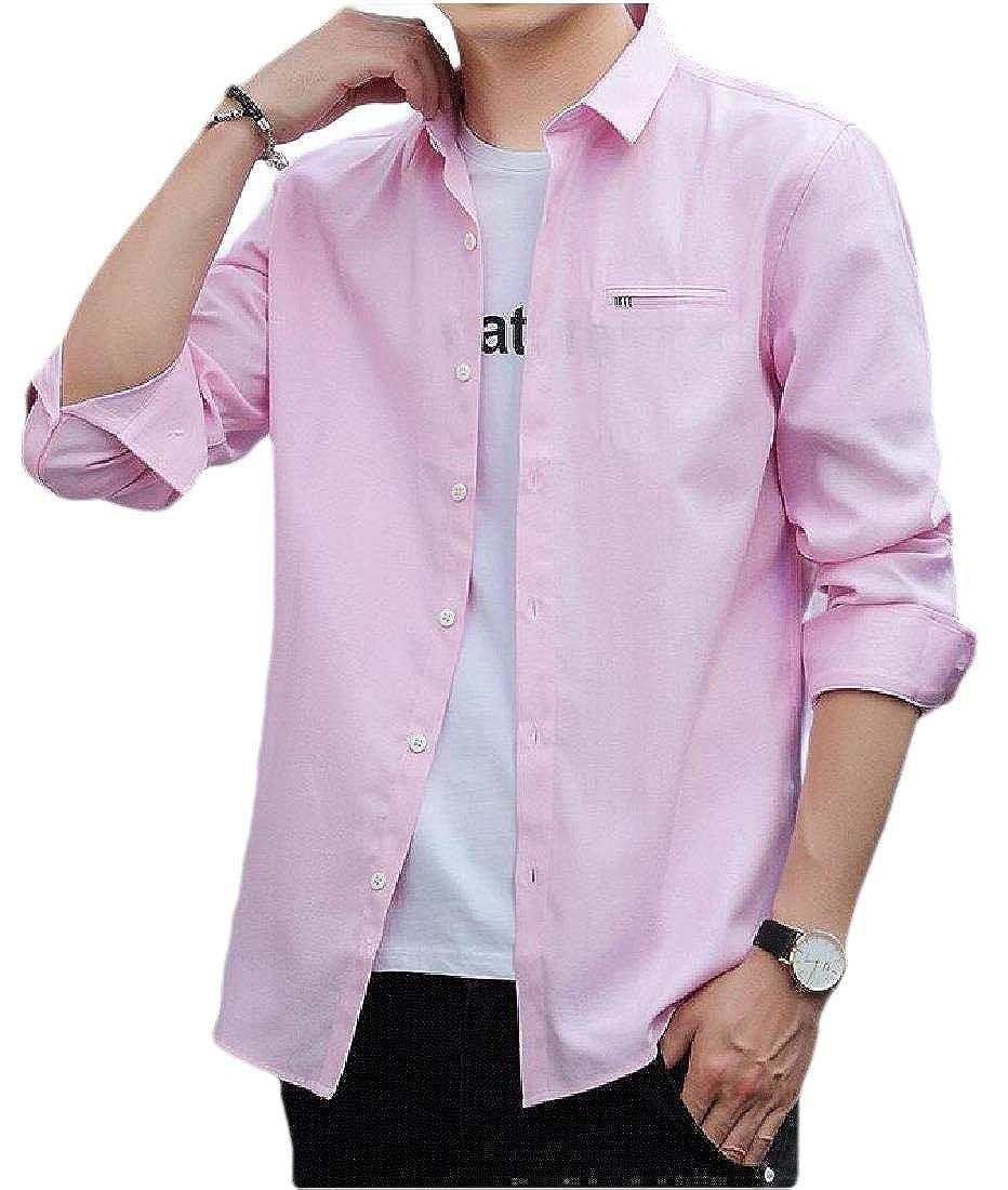Macondoo Men Plain Long Sleeve Tops Slim Button-Down Solid Shirt