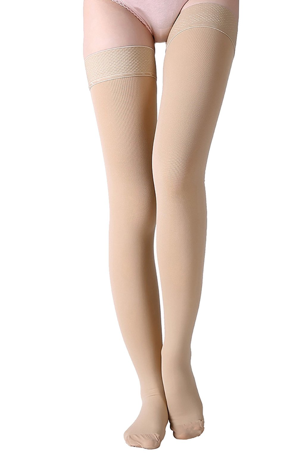 Thigh High Compression Stockings, Closed Toe, Firm Support 20-30 mmHg Gradient Compression Socks with Silicone Band, Opaque, Best for Treatment Swelling, Varicose Veins, Edema, Pregnancy, Beige M by MGANG (Image #7)