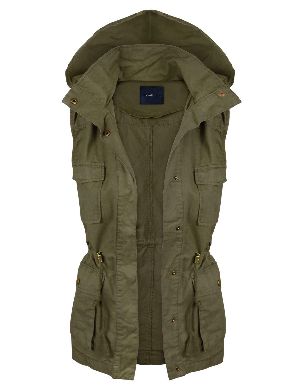 makeitmint Women's Hooded Military Utility Jacket Vest w/Drawstring Small YJV0018_Olive