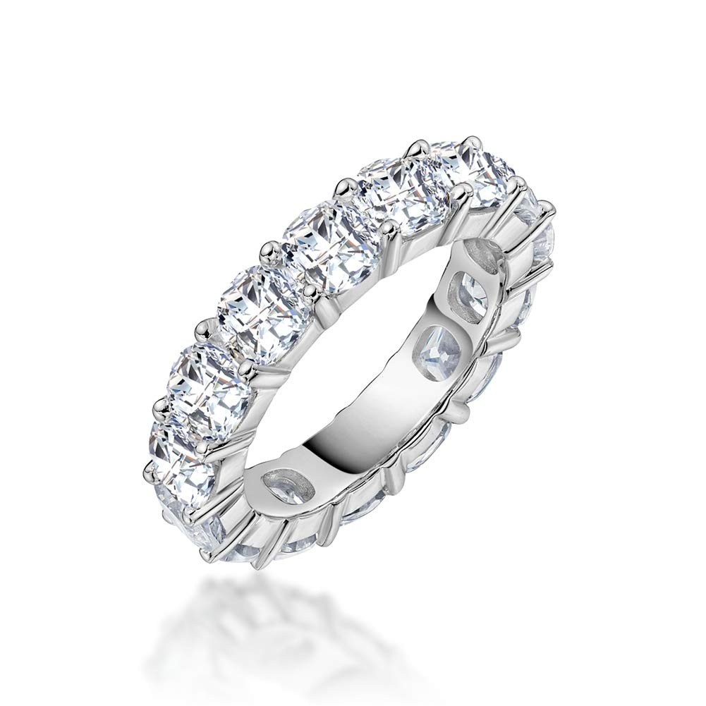 Erllo 4x4mm Cushion Cut 925 Sterling Silver Cubic Zirconia Fashion Ring Eternity Engagement Wedding Band (8) by Erllo
