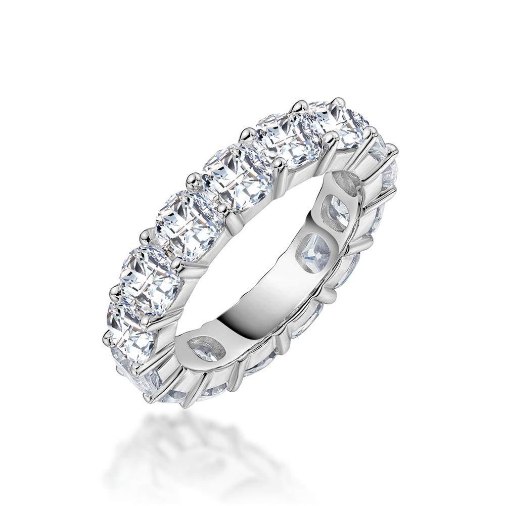Erllo 4x4mm Cushion Cut 925 Sterling Silver Cubic Zirconia Fashion Ring Eternity Engagement Wedding Band (7.5)