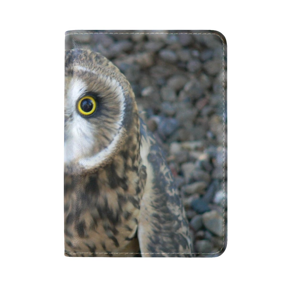 Animal Owl Short-eared Adorable Fluffy Small Stable Wild Flying Leather Passport Holder Cover Case Travel One Pocket