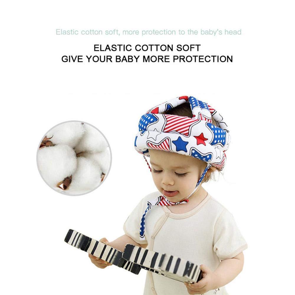 Aolvo ideale per proteggere la testa dagli urti regolabile decorato con stampe #3 in cotone Casco di sicurezza per bambini