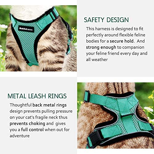 rabbitgoo Cat Harness and Leash for Walking, Escape Proof Soft Adjustable Vest Harnesses for Cats, Easy Control Breathable Reflective Strips Jacket 29
