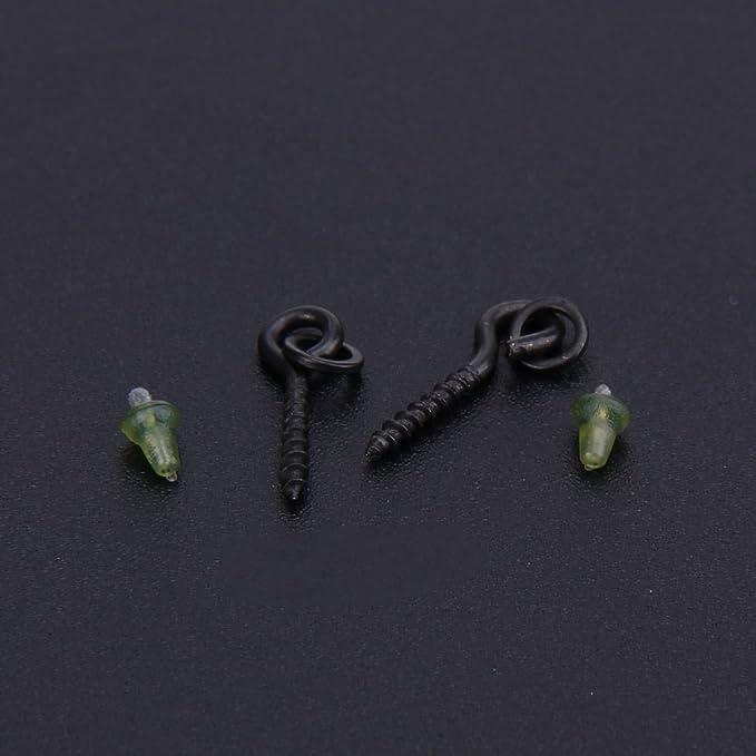 Haken-Stopper für Karpfenangeln Schwarz Köderschrauben mit Ovalen Ringen