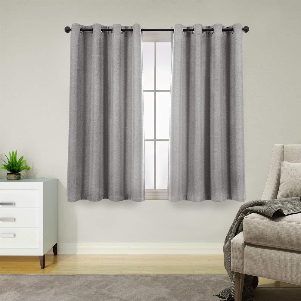 Tie Up Curtains for Windows Linen Textured Adjustable Room Darkening Tie-up Shade for Kitchen Rod Pocket Tie-up Valance 1 Panel,18-Inch Brown