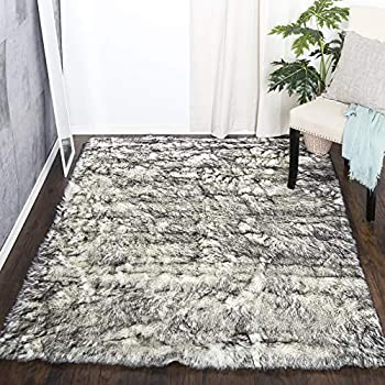 Amazon Com Flokati Faux Fur Rugs 5 X 8 Black Kitchen