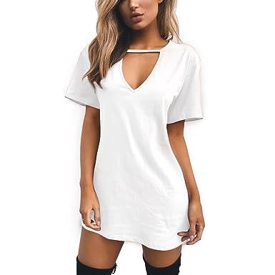 regarder prix raisonnable grande remise de 2019 Inlefen Mini Robe Femme - Deep V, Manches Courtes, Robes Top, Long T-Shirt  pour Femme