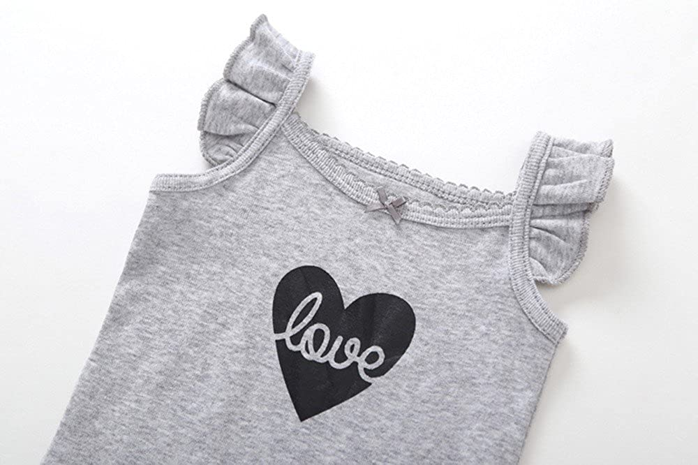 Gonxifacai Summer Baby Newborn Girls Cotton Romper Toddler Carton Print 3PCSRomper Pajamas Set