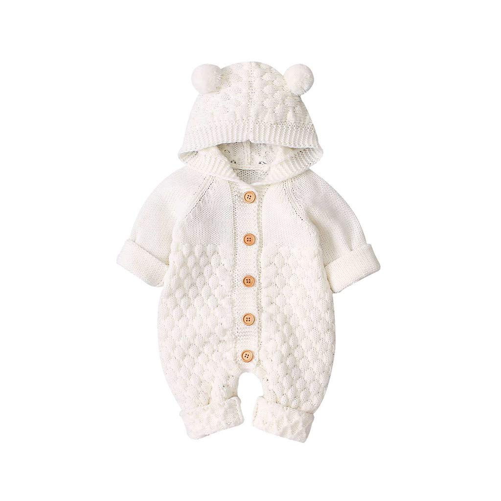 ✪COOLGIRLS✪~Clothing Newborn Infant Baby Girl Boy Winter Warm Coat Knit Outwear Hooded Jumpsuit White by ✪COOLGIRLS✪~Clothing