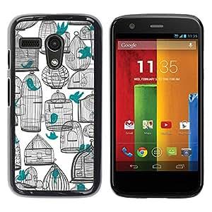 Be Good Phone Accessory // Dura Cáscara cubierta Protectora Caso Carcasa Funda de Protección para Motorola Moto G 1 1ST Gen I X1032 // Deep White Pen Art Teal Meaning