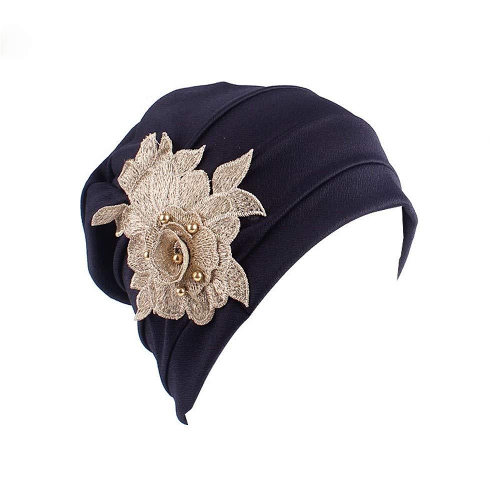 Women's Muslim Elastic Appliques Turban Hat Hair Loss Head Wrap Cap Chemo Cap Fashion Slouchy Hats for Women Navy