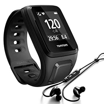 TomTom Spark Cardio + Music + Casque BT - Montre Fitness GPS - Bracelet Large Noir