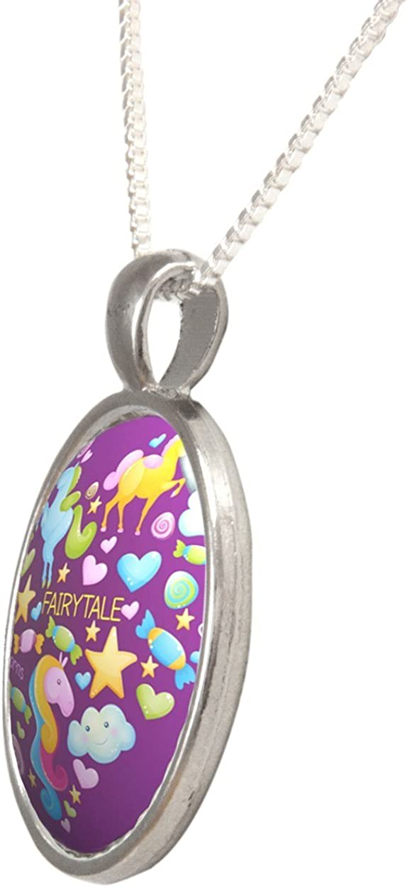 Arthwick Store Fairytale Elements Inside a Heart with Purple Background Pendant Necklace
