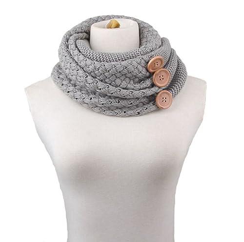 TININNA Donne Ragazze Autunnali e Invernali Caldo Moda Sciarpa a maglia di lana spessa con Bottoni s...