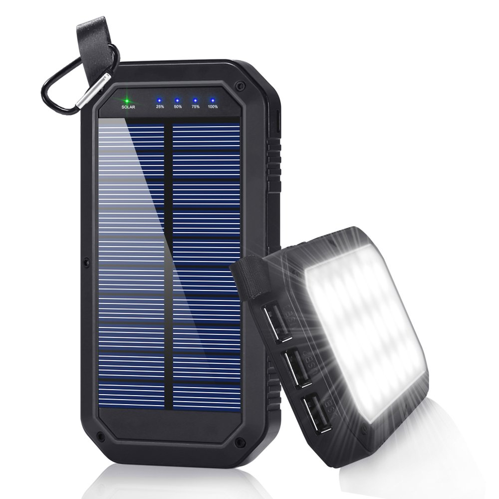Solar Charger, Dostyle 8000mAh Portable Solar Power Bank External Backup Battery Pack 3 USB Ports Solar Phone charger with 21 LED light for iPhone, iPad, Samsung Galaxy & other Android Smart Devices by dostyle