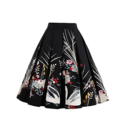 HUHHRRY Vintage Skirt A-Line Printed Pleated Flared Midi Skirts
