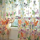 Kasit Tenda in voile per porte e finestre, per camera da letto, bagno, soggiorno, camera dei bambini–motivo: farfalle