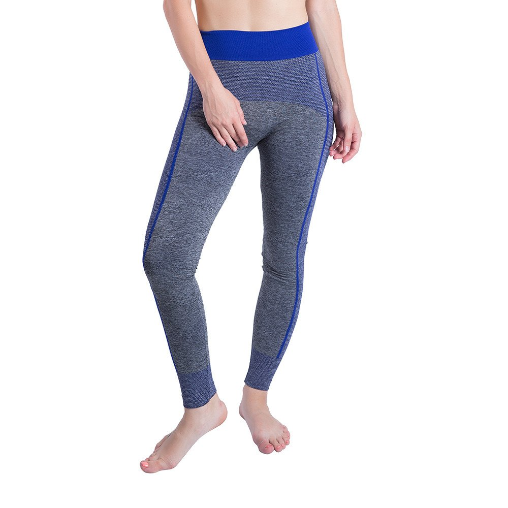 iLUGU Women Gym Yoga Patchwork Sports Running Fitness Leggings Pants Athletic Trouser(S,Blue-12)