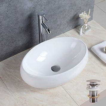 Basong Vasque à Poser En Céramique Moderne Lavabo Lave-Mains Salle de Bain  WC Ovale 4b2572b810c1