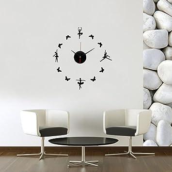 Amazoncom Hatop Wall Clock 3d Mirror Surface Wall Sticker Clock