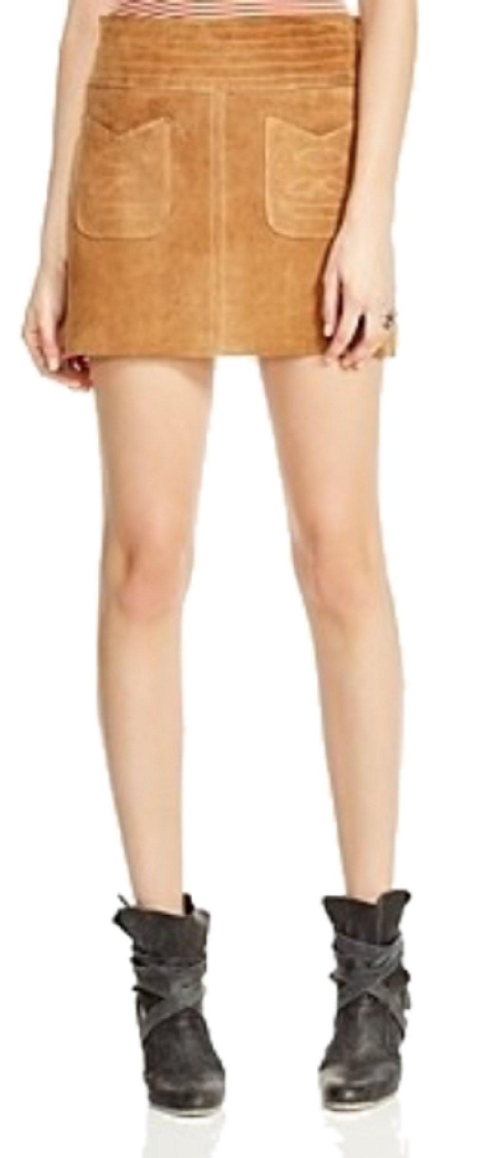 Free People Modern Love Suede Mini Skirt, Brown, Size 10