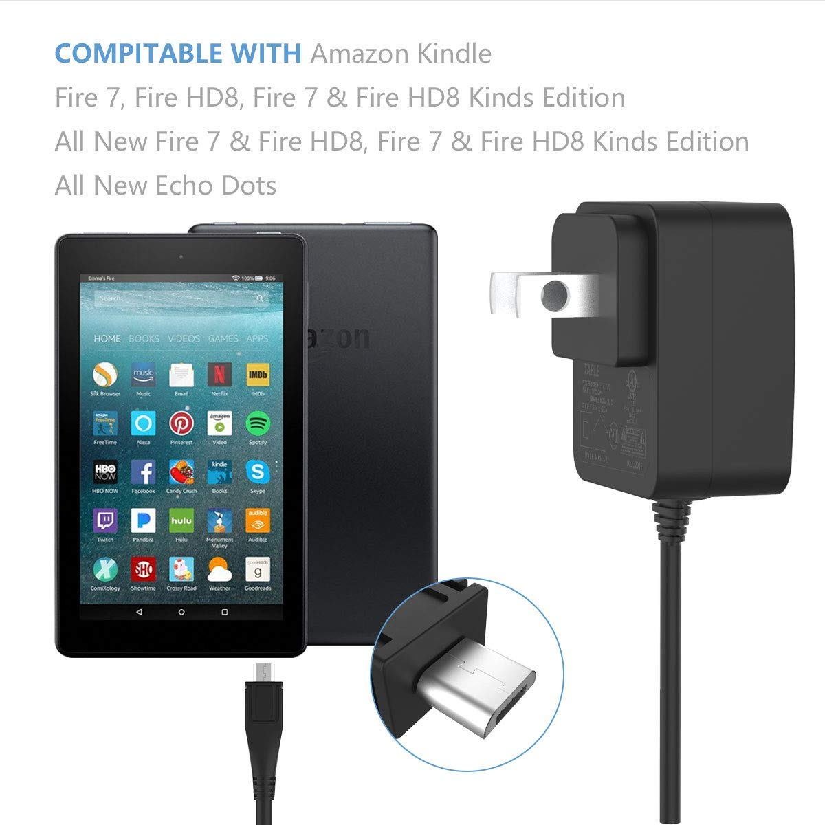 Kindle Fire HD 10 Fast Charger UL Listed Rapid Charger Adapter with 6.5 Feet Micro-USB Cable Compatible for Kindle Fire HD 10 Tablet 5th 6th 7th Generation and Fire HD 10 Kid Edition Asus Sumsung Ga