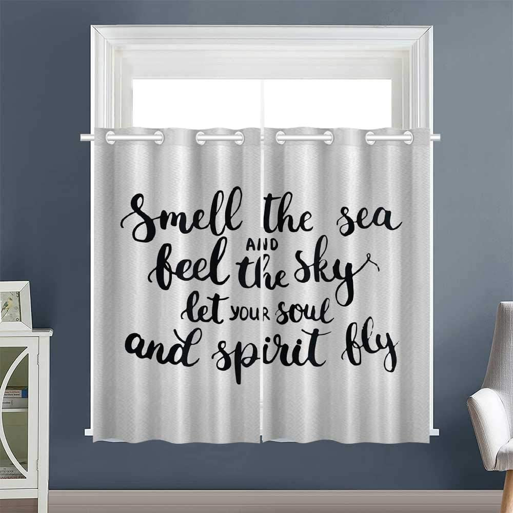 """Linhomedecor Light Darkening Curtains Ink Calligraphy Grommet Drapes/Draperies Curtains/Panels/Drapes Saying White Black (1 Pair, 52"""" Width x 63"""" Length Each Panel)"""