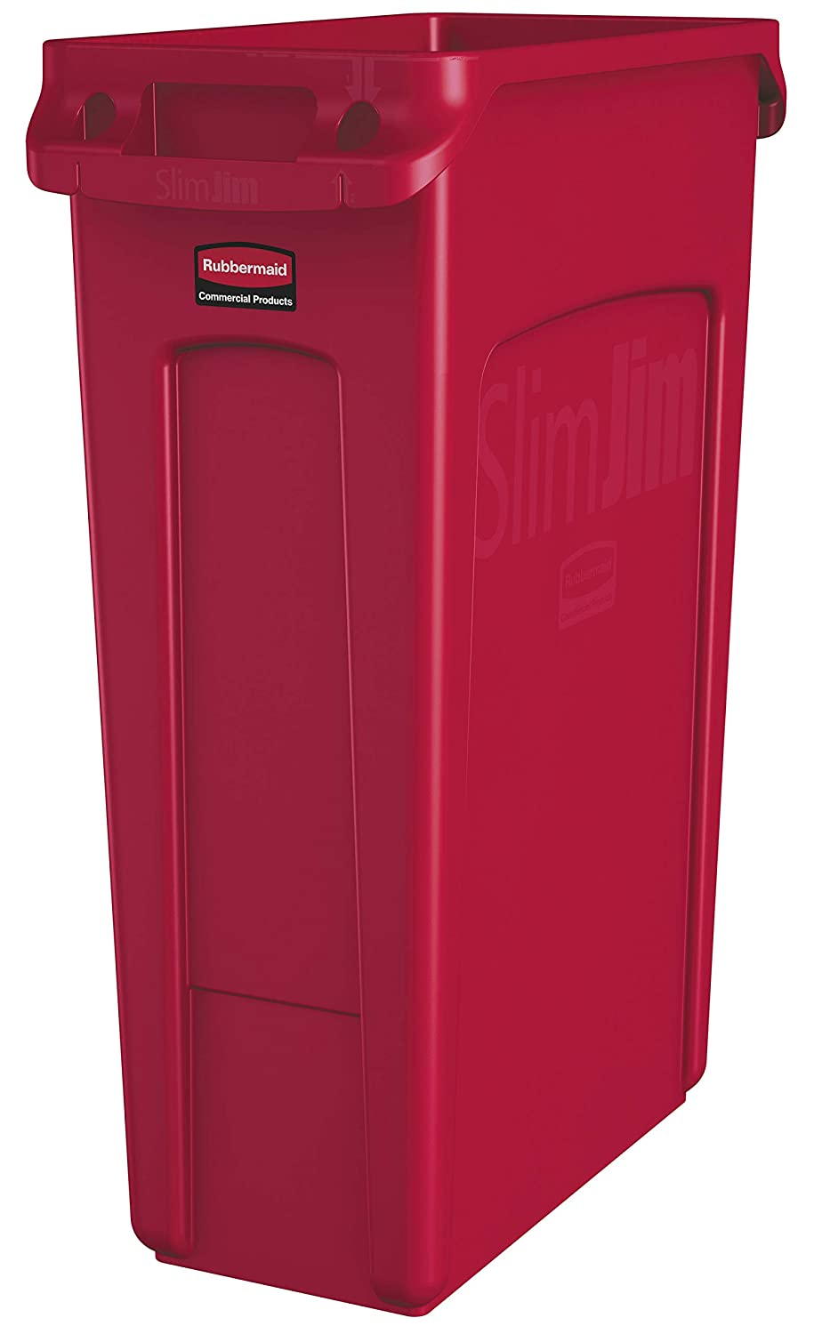Rubbermaid Commercial Products Slim Jim Plastic Rectangular Trash/Garbage Can with Venting Channels, 23 Gallon, Red (1956189)