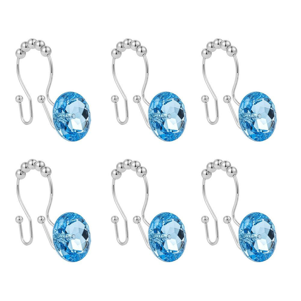 Malicosmile Blue Rhinestone Shower Hooks Rings, Decorative Stainless Steel Double Curtain Hooks for Bathroom Shower Rods Set of 12pcs