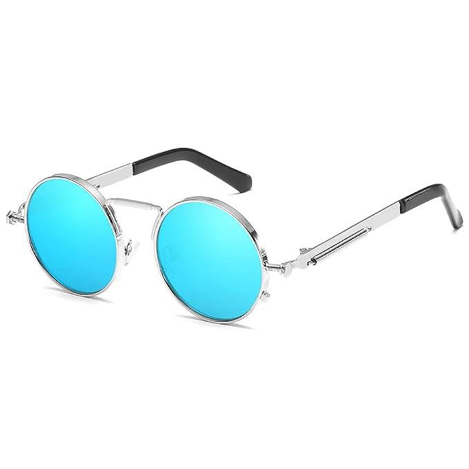Kennifer Steampunk redonda Retro Metálico gafas de sol para ...