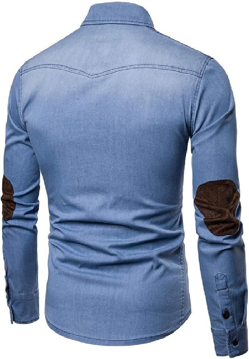 SportsX Men Cotton Fitted Washed Turn-Down Collar Denim Dress Shirts