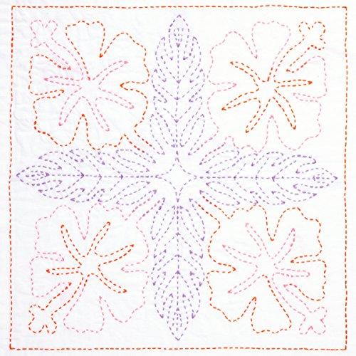 Sashiko World Hawaii Stamped Embroidery Kit-Hibiscus