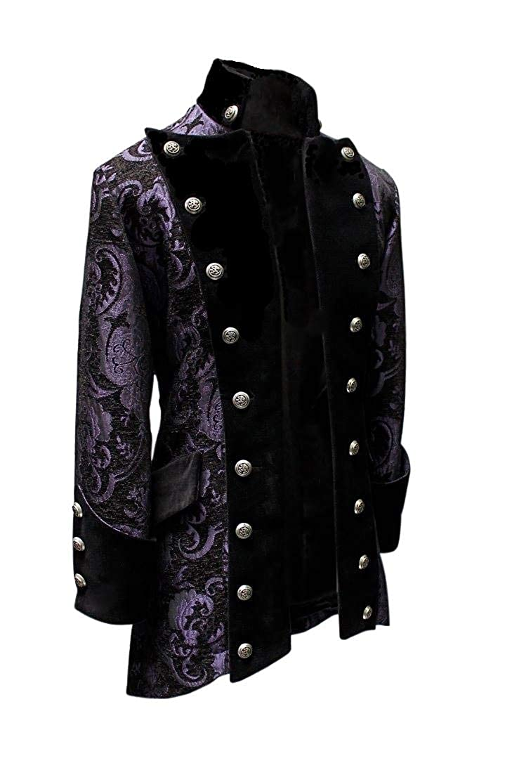 Men's Steampunk Jackets, Coats & Suits Shrine Mens Victorian Gothic Steampunk Versailles Coat Purple Black Tapestry $495.00 AT vintagedancer.com