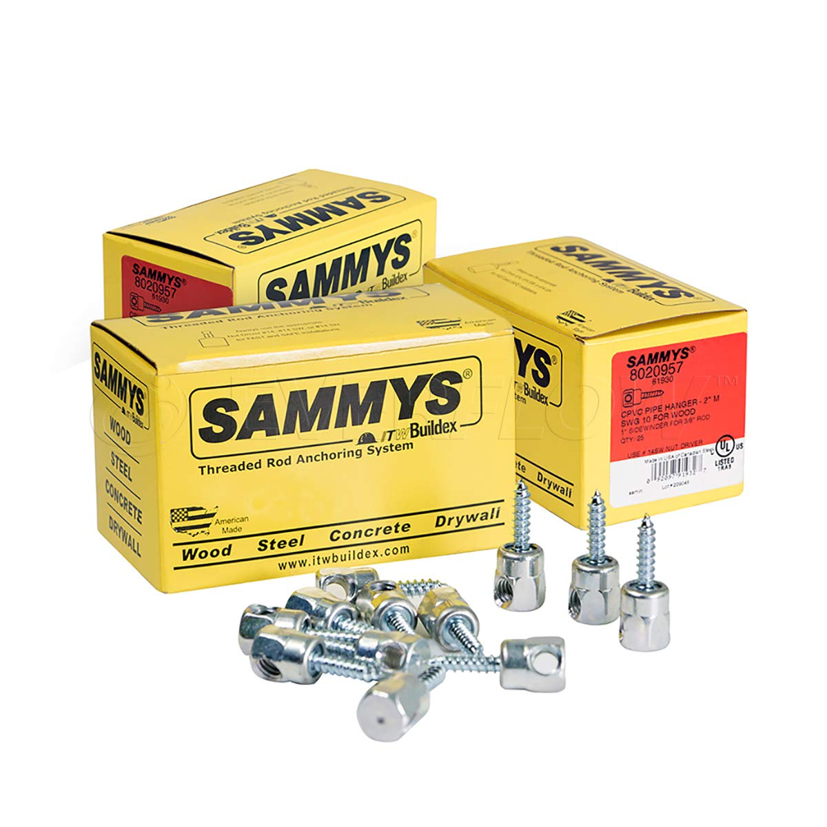 Everflow Sammys 8020957-75 SWG 10 3/8 Inch Screw Sidewinder Designed for Wood, Rod Hanger, Installs Horizontally, Easy Adjustment, Zinc Plated Corrosion Resistance, 1/4 x 1 Inch Screw Length (Pack 75)