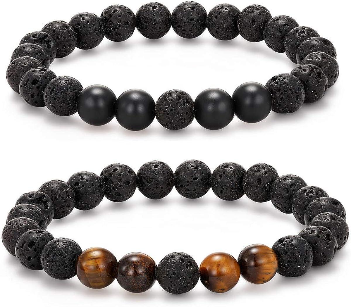 MengPa Lava Rock Bracelet Yoga Aromatherapy Anxiety Essential Oil Diffuser Volcanic Stone Bead Bangle for Women Men