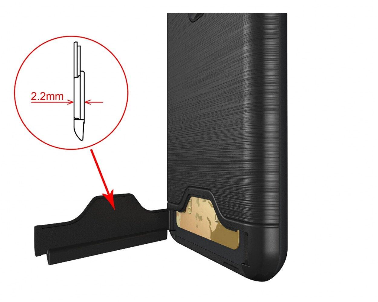 Custodia Antigraffio Trama Spazzolata Custodia Zenfone 3,Cavalletto Cover per Asus ZE552KL Hard PC Slot per Schede Dual Layer Protector Anti-Shock Zenfone3, Nero