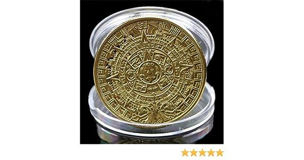 YunBest - Calendario Azteca Maya bañado en Plata, Recuerdo conmemorativo de la colección de Monedas BestShop, Dorado
