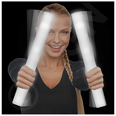Lumistick LED Foam Baton Cheer Stick | Light Up Flashing Glowing Illuminate for Weddings, Parties, and Dancing Toy (White, 25 Pack): Toys & Games