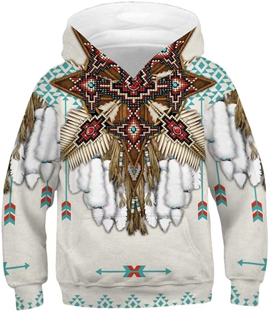 Tsyllyp Boys Girls 3D Print Casual Pullover Hoodies Hooded Sweatshirts Tops Blouse with Pocket
