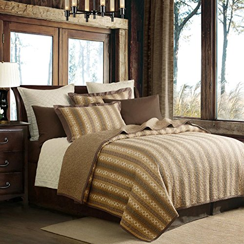 HiEnd Accents QL1805-KG-OC 3-PC Reversible Hill Country Quilt Set, - Hill Accent