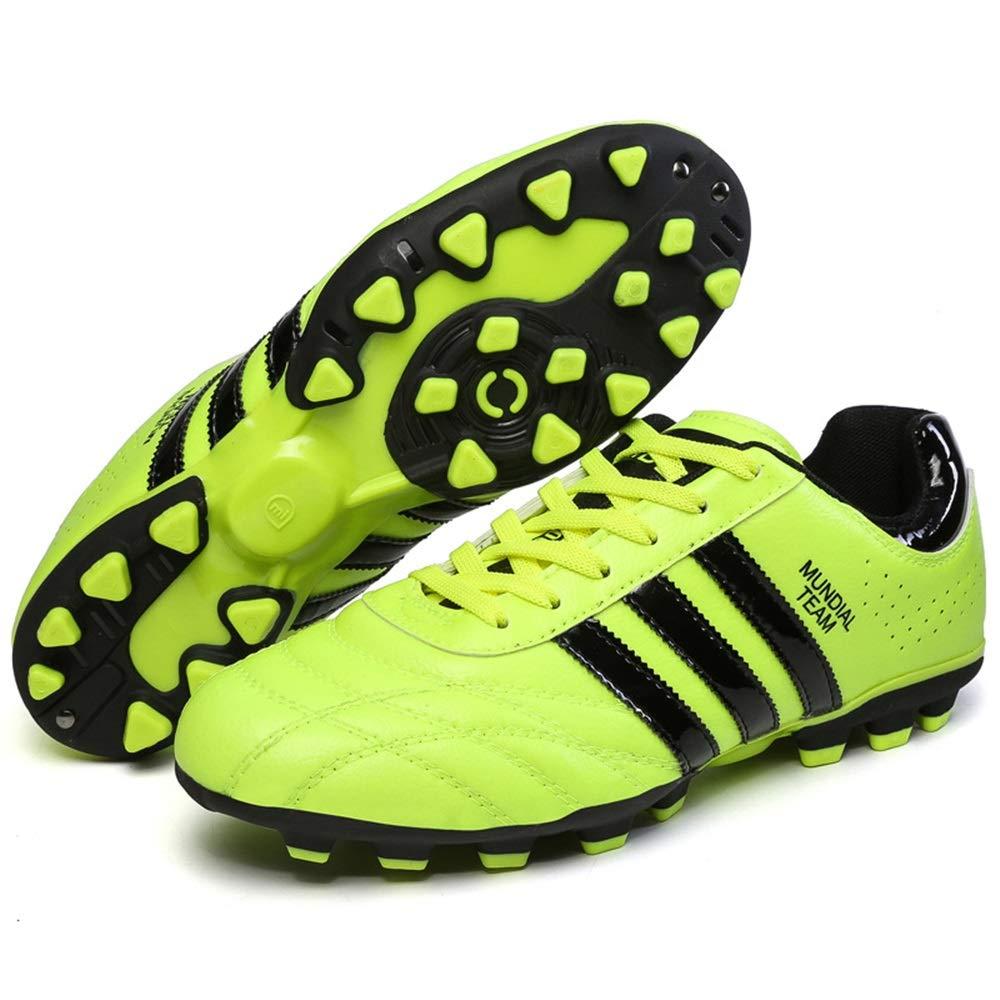 Ywqwdae AG Fußballschuhe für Männer Non Slip Atmungsaktive Superlight Sport Trainingsschuhe (Farbe   Grün, Größe   EU 40)